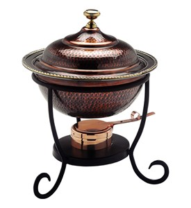Round Stainless Chafing Dish - Antique Copper Image