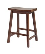 24 Inch Saddle Bar Stool - Antique Walnut