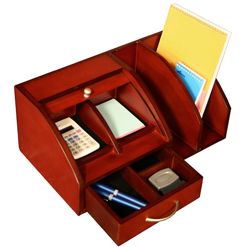 Roll Top Desk Organizer With Mail Slots In Desktop Organizers