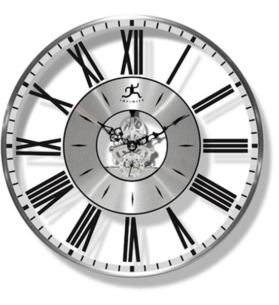 Roman Numeral Clock With Silver Accents In Wall Clocks
