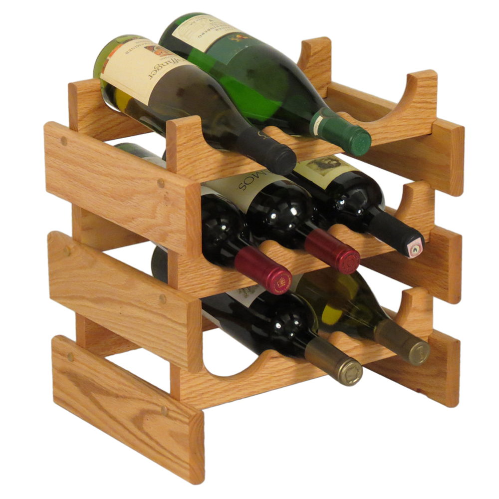 Wood Wine Rack 9 Bottle In Wine Racks