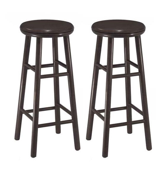 30 Inch Wooden Swivel Bar Stools Espresso Set Of 2 In