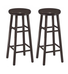 30 Inch Wooden Swivel Bar Stools - Espresso (Set of 2) Image