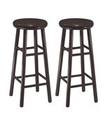 30 Inch Wooden Swivel Bar Stools - Espresso