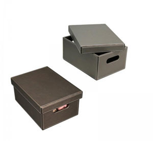 Gun Metal Gray Faux Leather Storage Box Image