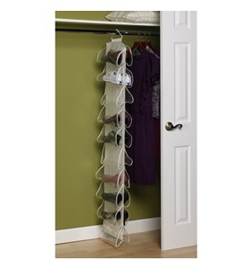 Canvas 20-Pocket Hanging Shoe Rack Image