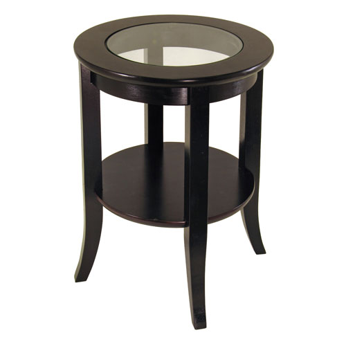 Genoa End Table With Glass Top Espresso In Side Tables