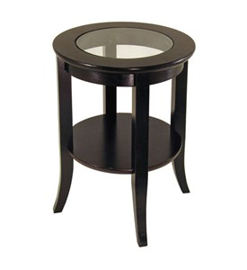Genoa End Table With Glass Top - Espresso Image