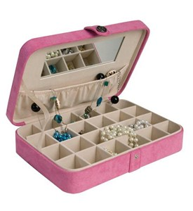 Faux Suede Travel Jewelry Case - Pink Image