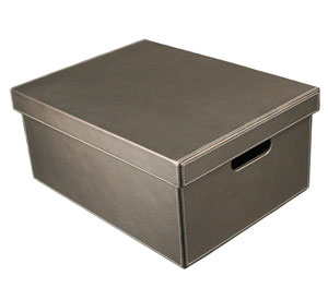 Large Gun Metal Gray Faux Leather Storage Box Image