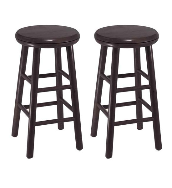 24 Inch Wooden Swivel Bar Stools Espresso Set Of 2 In