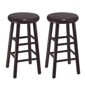 24 Inch Wooden Swivel Bar Stools - Espresso (Set of 2) Image