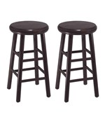 24 Inch Wooden Swivel Bar Stools - Espresso