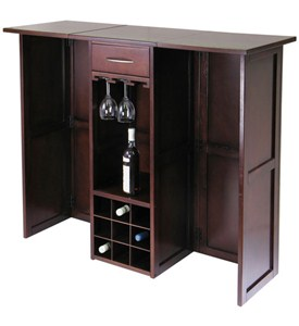 Wine Bar with Expandable Counter - Antique Walnut Image