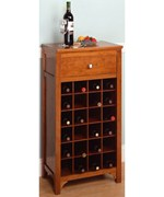 Modular Wine Storage Stand with Drawer - Walnut