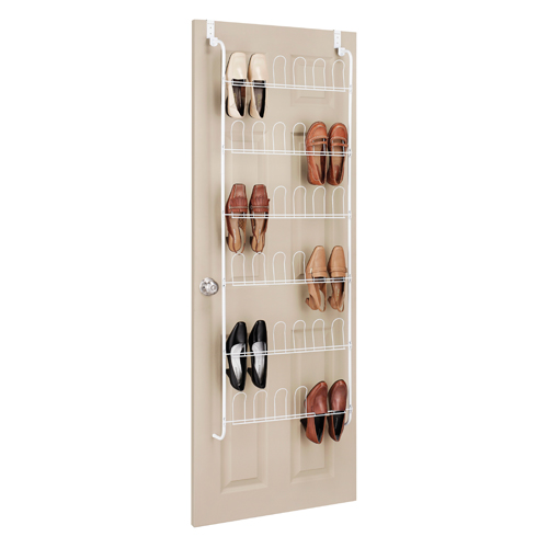 Over the door shoe rack white in over the door shoe racks for Door shoe organizer