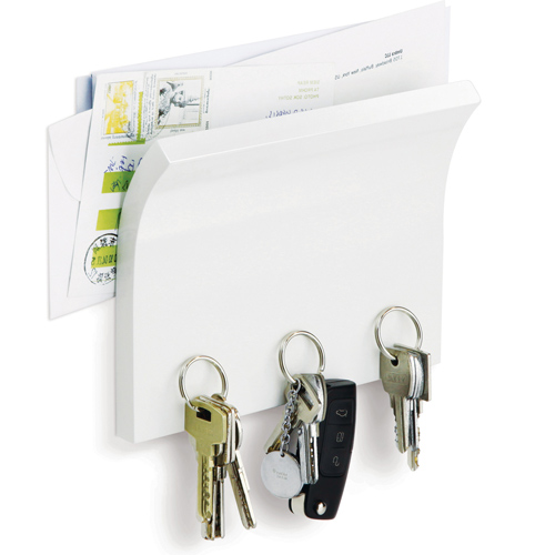 Letter Holder and Magnetic Key Rack - White Image
