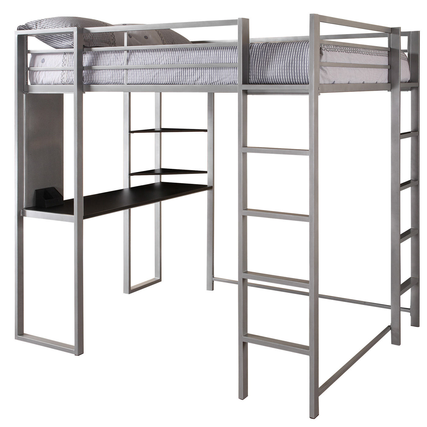 Abode Silver Full Size Loft bed with Black Desk and Shelves by