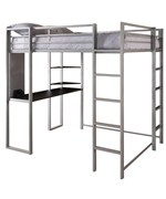 Abode Silver Full Size Loft bed with Black Desk and Shelves by Ameriwood