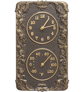 Acanthus Outdoor Thermometer and Clock Image