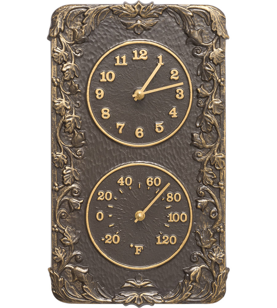 Acanthus Outdoor Thermometer And Clock ...