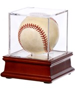 Acrylic Baseball Display Case and Wood Base