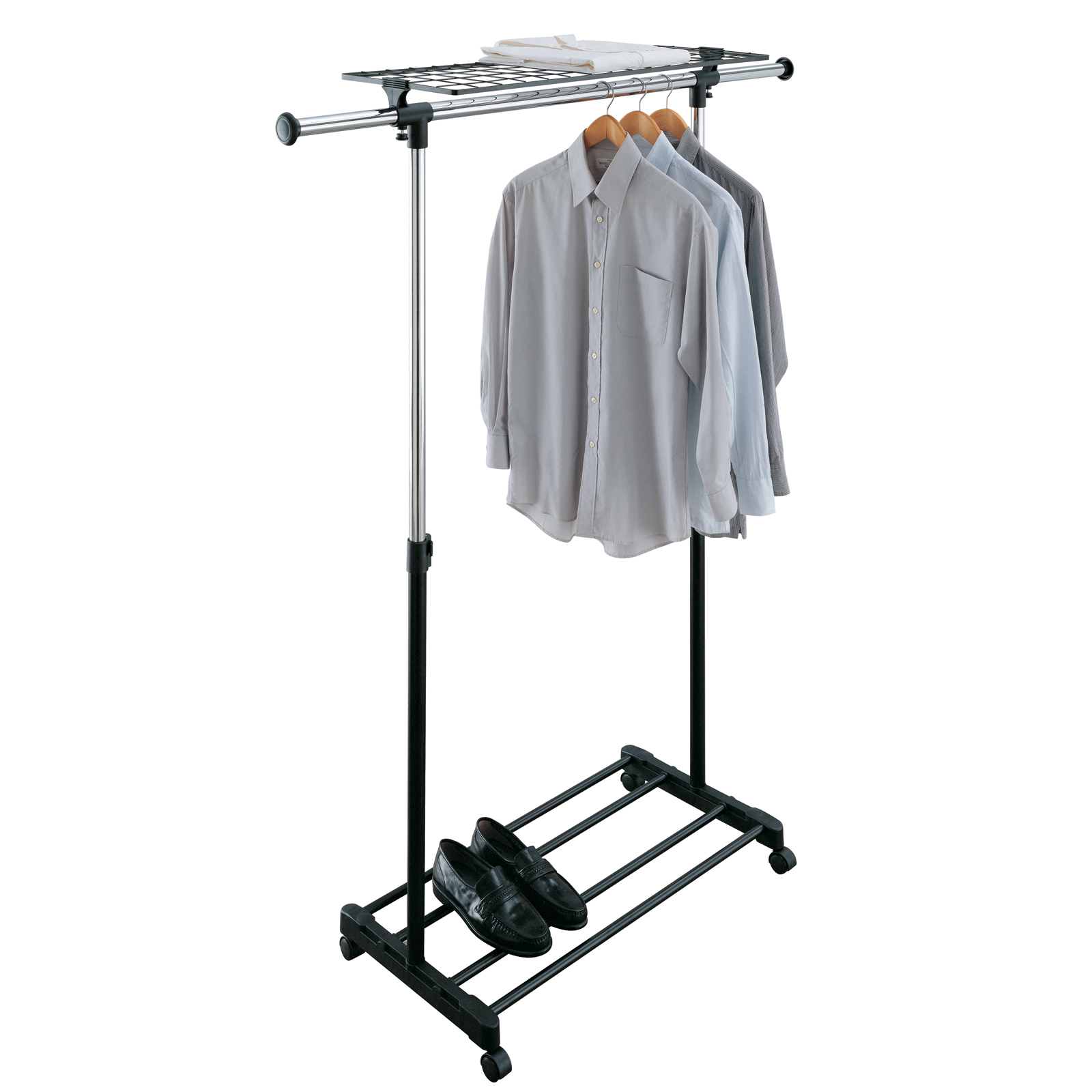 ... Adjustable Rolling Clothing Rack, Steel Garment Rack