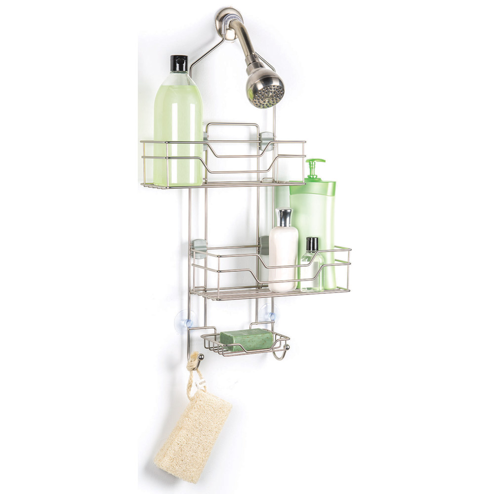 Adjustable shower caddy with sliding baskets in shower caddies for Bath shower accessories