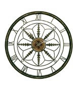 Circular Wall Clock in Aged Bronze by Passport