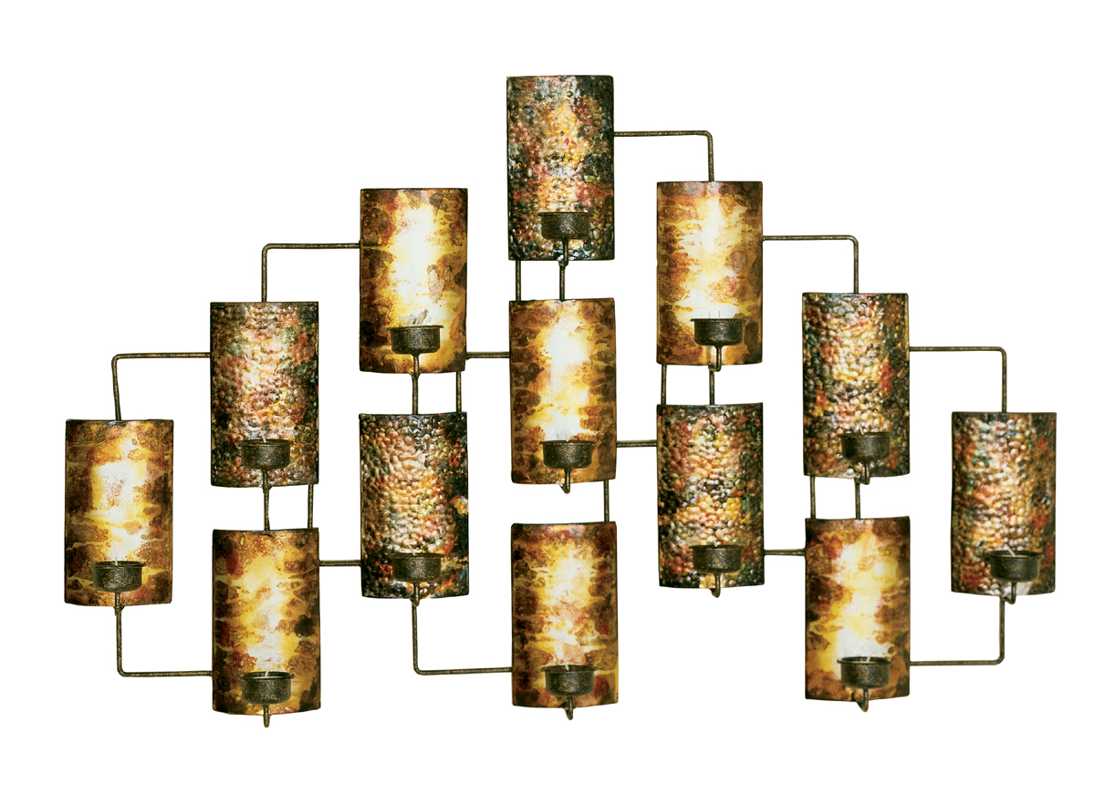 Metal wall decor in aged gold in metallic wall art for Wall accessories