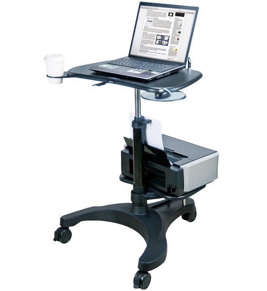 Aidata Adjustable Laptop Desk With Printer Tray In