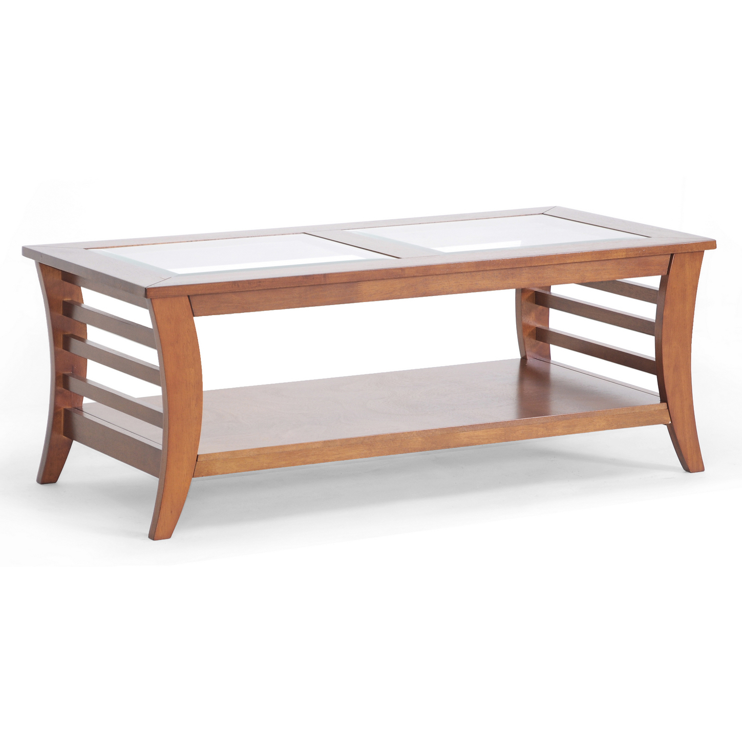 Allison Honey Brown Wood Modern Coffee Table With Glass