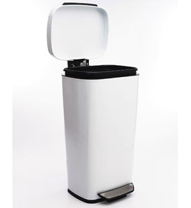 OXO Steel Kitchen Trash Can White in Stainless Steel Trash Cans
