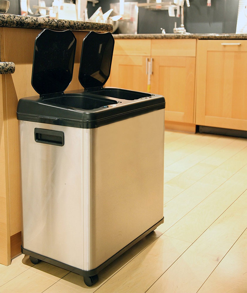 16 Gallon Dual Compartment Recycle Bin In Recycling Bins
