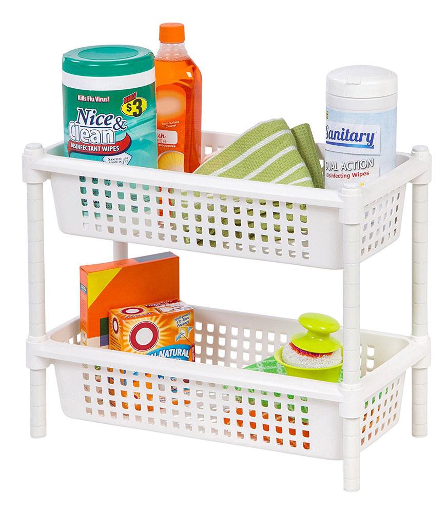 3 Tier Shelf Organizer Under Sink Rack Cabinet Storage: 2 Tier Under Sink Organizer In Under Sink Organizers