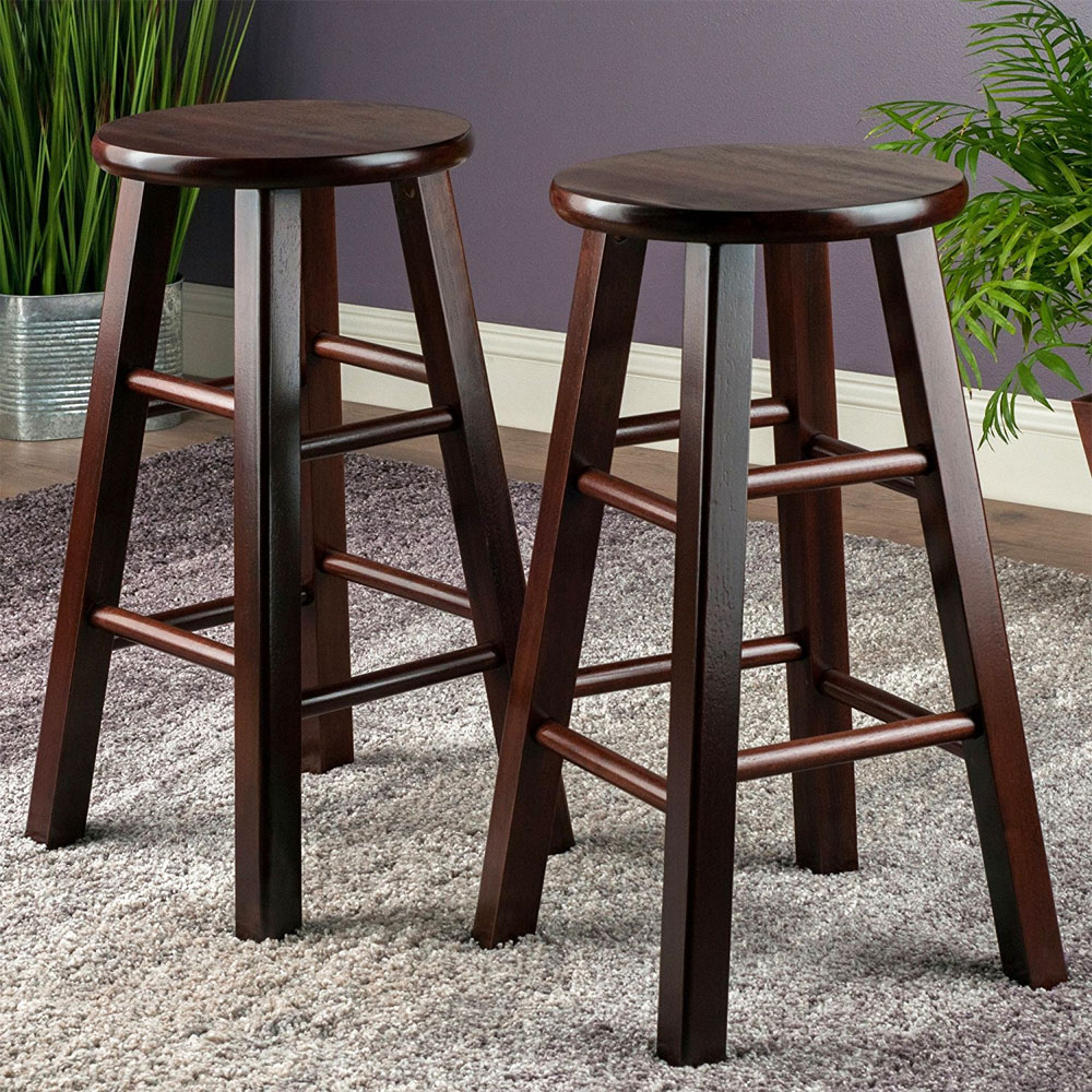 24 Inch Pacey Counter Stools Set Of 2 In Wood Bar Stools