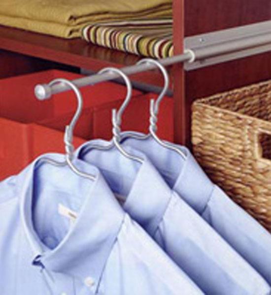 Sliding Closet Valet Rod - Brushed Silver in Closet Valets