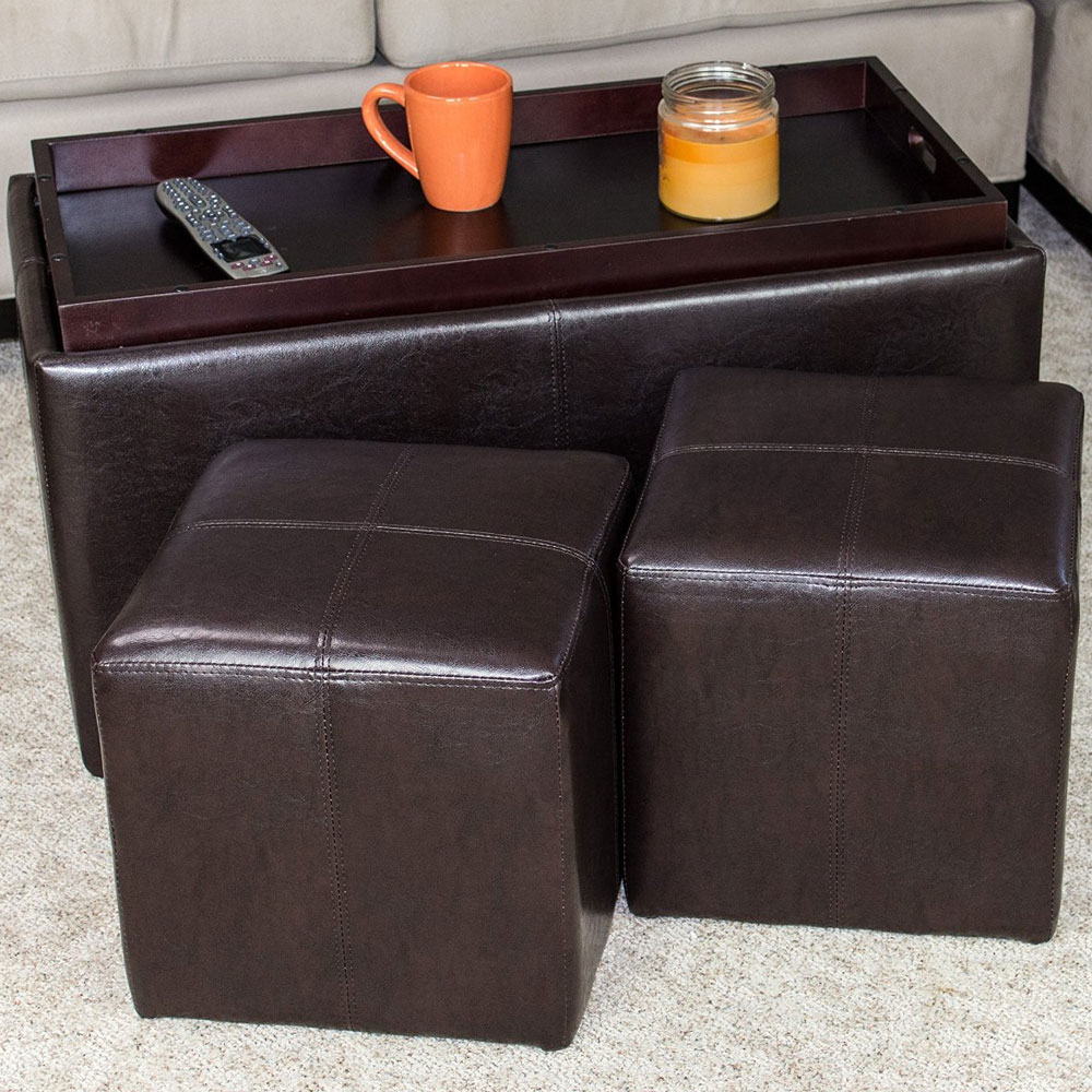 3 Piece Storage Ottoman And Cube Set In Ottomans