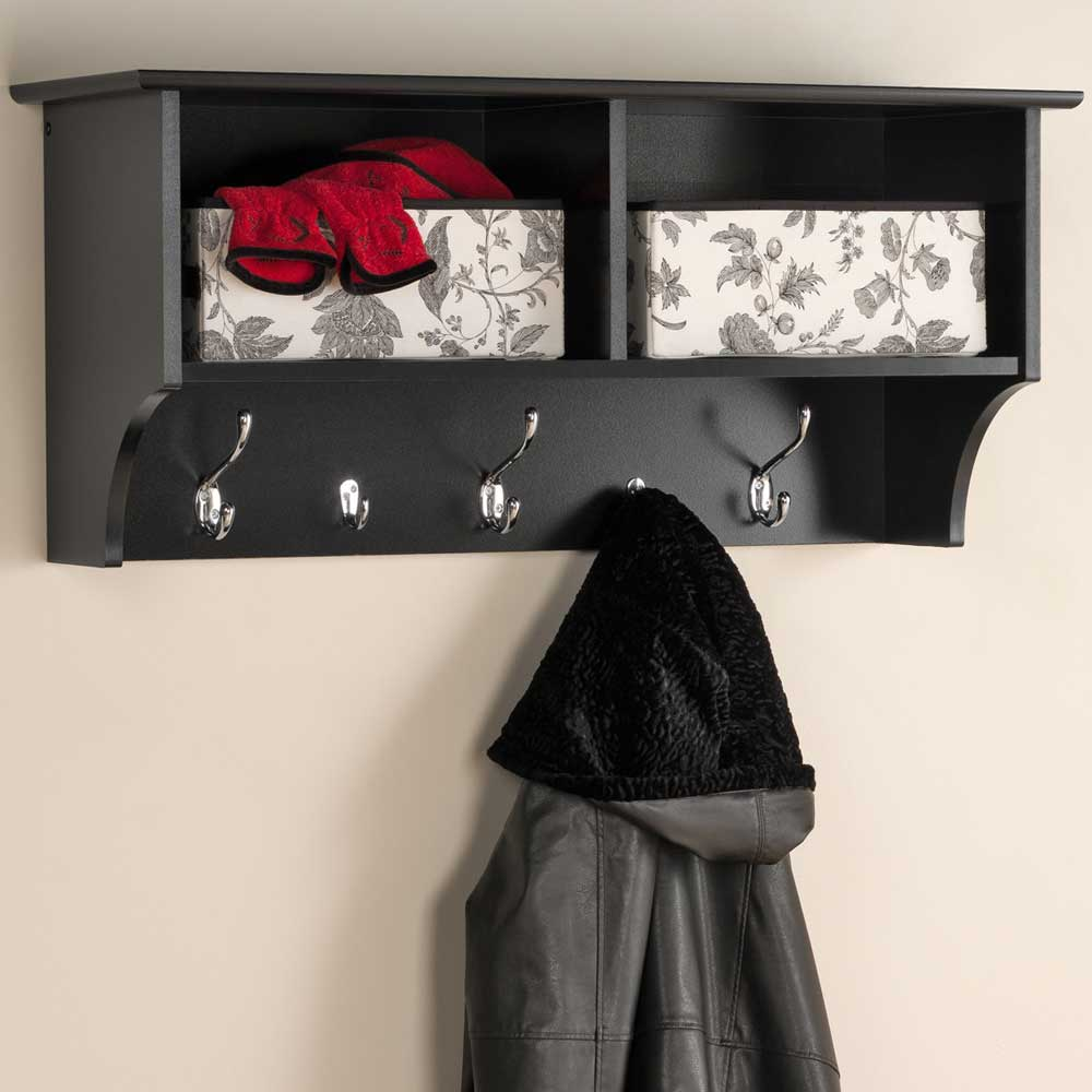 36 Inch Hanging Shelf With Coat Hooks In Wall Coat Racks