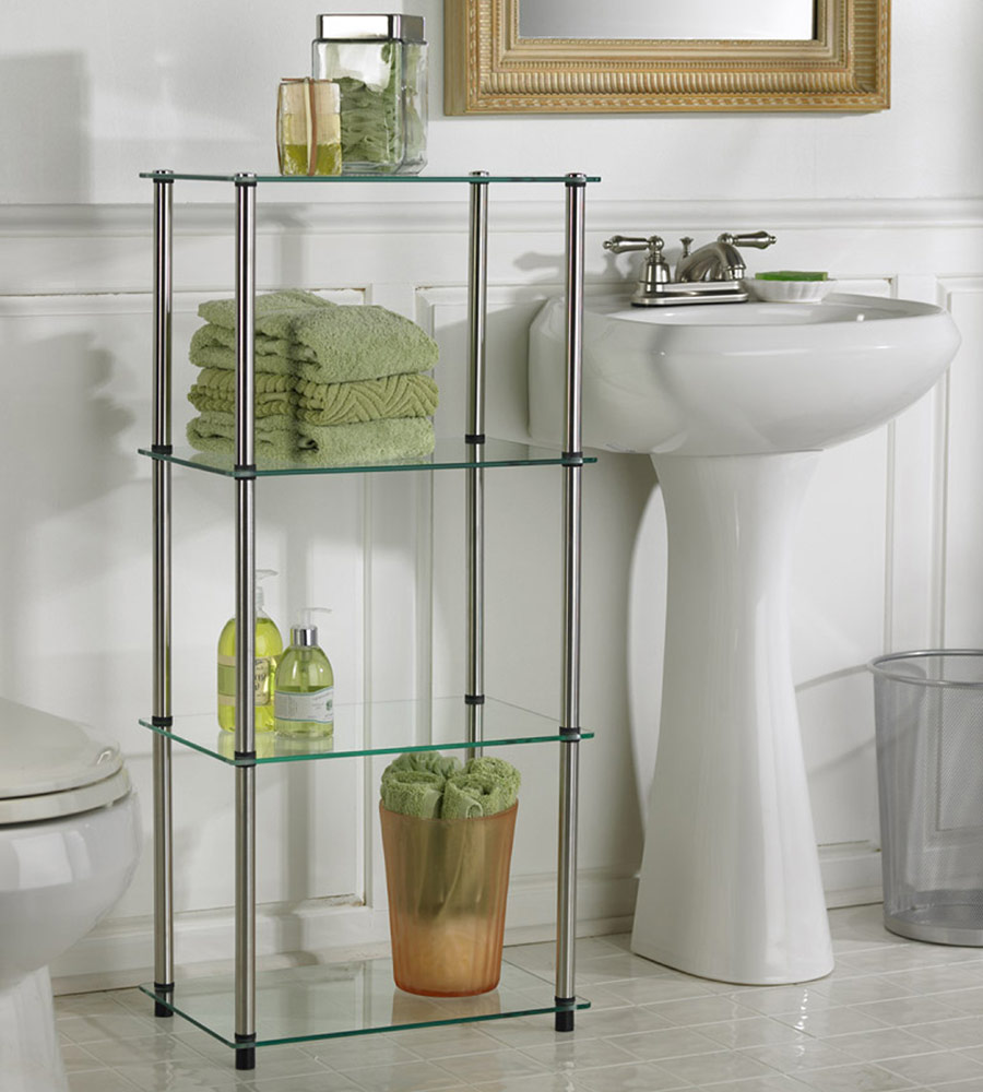 Tier Floor Standing Glass Shelves