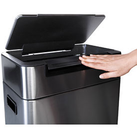 Oxo Wide Stainless Steel Touch Trash Can In Stainless