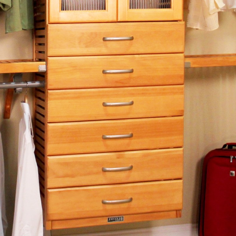 Wood Closet Organizers With Drawers ~ Inch deluxe tower drawer honey maple in ventilated