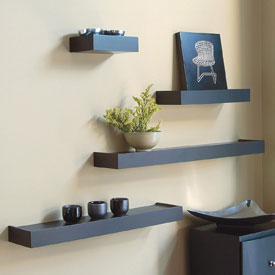 Floating Wall Shelves Set of 4 Black Set of 4 in Wall Mounted