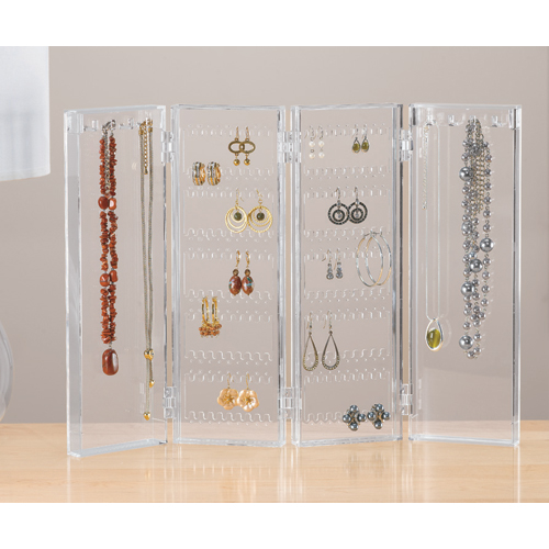 Acrylic Folding Earring and Necklace Holder in Jewelry Stands