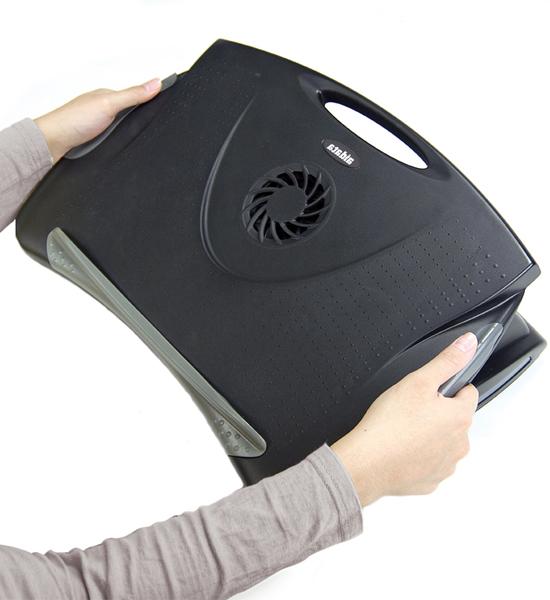 adjustable laptop desk with cooling fan in desks