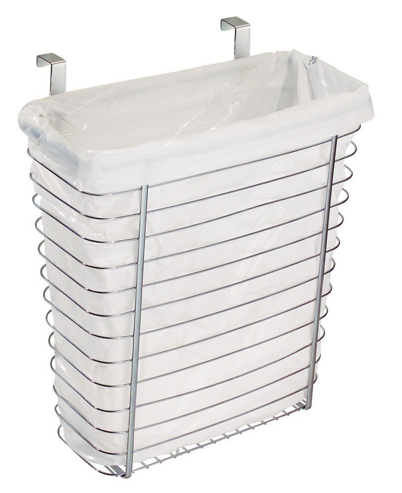 Over The Cabinet Basket Axis Chrome Over Cabinet Wastebasket In Cabinet Trash Cans