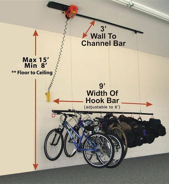 Bike storage system 8 hook in ceiling bike storage for Electric motorized storage lift system