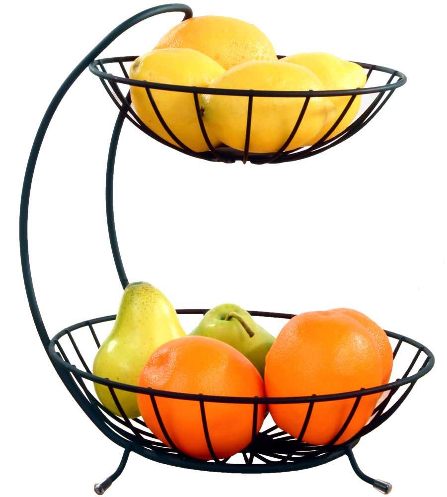 Black two tier fruit bowl in fruit baskets - Tiered fruit bowl ...