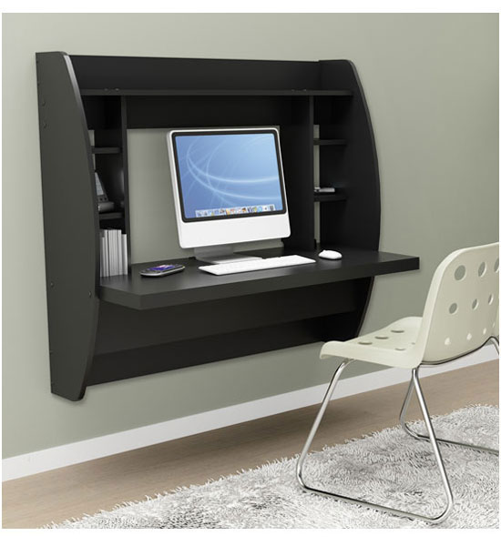 Wall Mounted Desk with Storage Black in Desks and Hutches