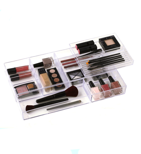 Bottles and Brushes Storage Tray in Cosmetic Drawer Organizers
